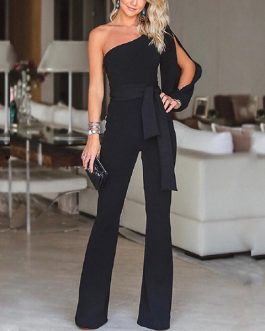 Women One Shoulder Elegant Straight Office Overalls Casual Solid Female Rompers
