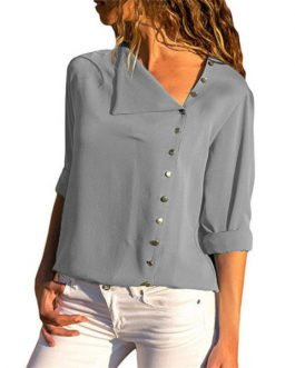 Women Tops and Blouses Solid Long Sleeve