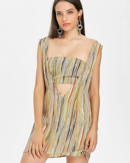 Stripes Bandeau Top Sleeveless Dress