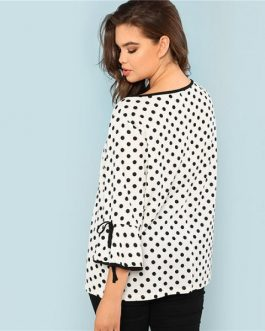Black And White Polka Dot Plus Size Ruffle Sleeve Women Blouse