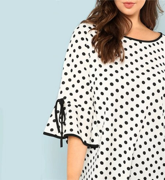Black And White Polka Dot Plus Size Ruffle Sleeve Women Blouse ...