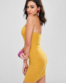 Halter Ribbed Bodycon Mini Dress