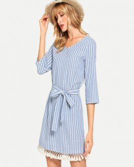 Tie Back Tassel Beach Vacation Short Dress