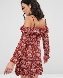 Floral Ruffles Cold Shoulder Dress