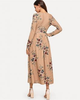 Flower Print Fit and Flare Round Neck Long Sleeve Dress
