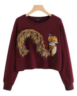 Burgundy Round Neck Faux Fur Sweat shirt