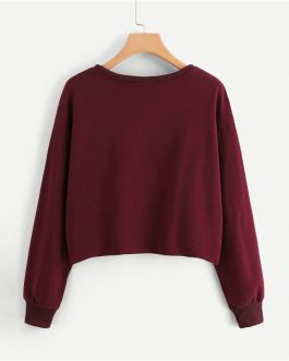 Burgundy Round Neck Faux Fur Sweat shirt