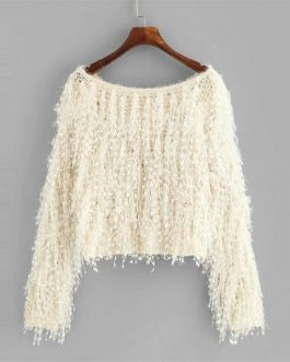 Casual Elegant Boat Neck Long Sleeve Loose Knit Fuzzy Fringe Sweater
