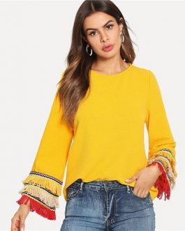 Embroidery Tape And Fringe Bell Sleeve Textured Blouse Color block Tiered Layer Women Autumn Flounce Sleeve Top