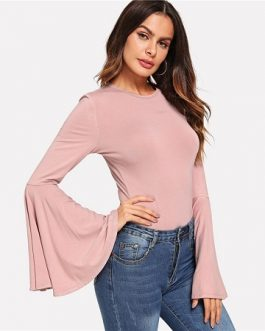 Pink Elegant Minimalist Skinny Autumn Bodysuits