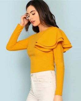 Ruffle Elegant Lady Autumn Tee Tops