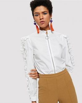 White Frill Trim O-Ring Zip Up Blouse Elegant Plain Long Sleeve Blouse Women Autumn Casual Office Lady Shirt Top
