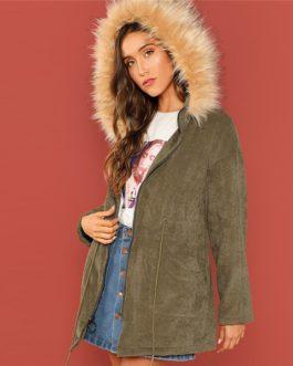 Army Green Solid Winter Thermal Work wear Women Coat