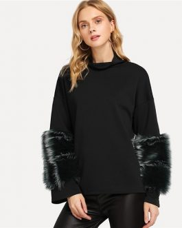 Black Faux Fur Contrast Solid Pullover Casual