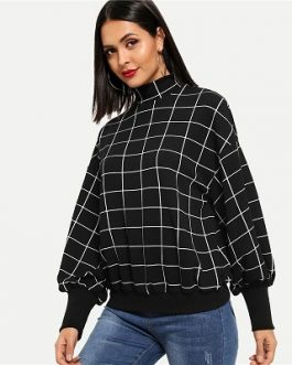Black Minimalist Grid Plaid Women Sweatshirts