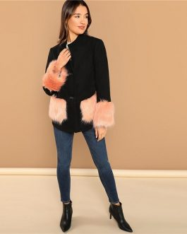 Black Office Lady Color block  Faux Fur Women Coat