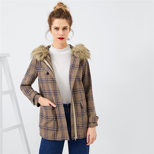 cce9cce1f3f8 Brown Solid Plaid Ladies Warm Winter Coats - Power Day Sale