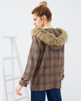Brown Solid Plaid Ladies Warm Winter Coats