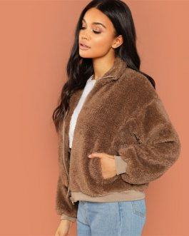 Brown Teddy Jacket Winter Thermal Women Coat