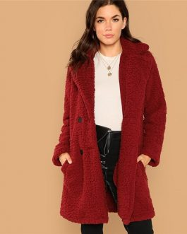 Casual Solid Notched Button Teddy Coat