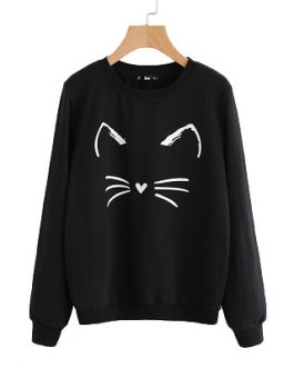Cartoon Cat Print Casual Cute Women Sweatshirt