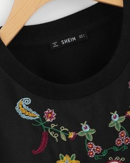 Floral Embroidered Women Pullovers Sweatshirts