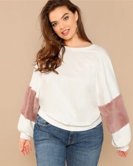 White Casual Plus Size Color block Women Sweatshirts