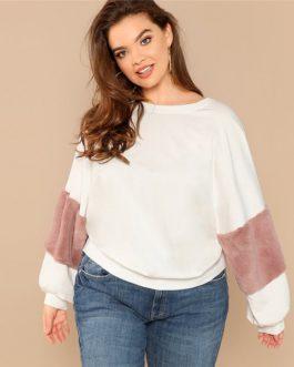 White Casual Plus Size Color block Women Sweatshirts