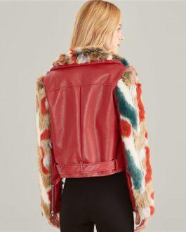 Burgundy Zip Front Belted Soft Faux Fur Contrast Jacket
