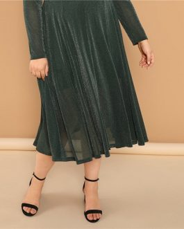 Plus Size Army Green Glitter Winter Party Dresses