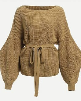 Khaki Highstreet Belted Workwear Elegant Women Sweaters