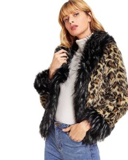 Multi color Elegant High street Faux Fur Leopard Print