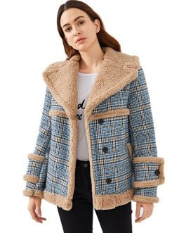 Multi color Waterfall Collar Contrast Faux Fur Plaid Women Coat