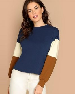 Multicolor Color Block Minimalist Sweatshirts