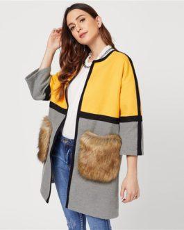 Open Front Color black Elegant Long Faux Fur Women Coat