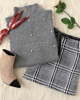 Pearl Beaded Rib Knit Jumper Womens Sweater