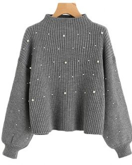 Pearl Beaded Rib Knit Jumper Womens Sweater