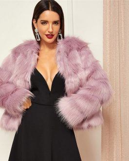 Pink High street Solid Open Front Faux Fur Coat