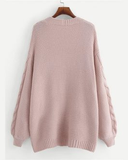 Plus Size Acrylic Casual Women Pink Solid Sweater