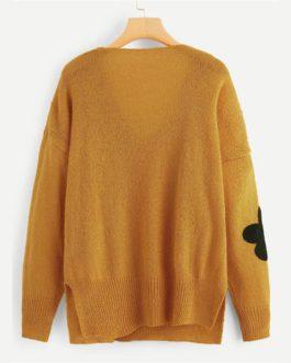 Plus Size Flower Applique Women Sweater