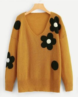 Plus Size Flower Applique Women Sweater