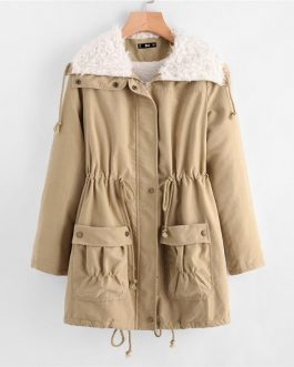 Preppy Fleece Drawstring Coat Winter Women Outerwear