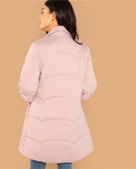 Rhinestone Padded Button Winter Casual Women Coat