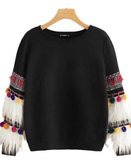 Round Neck Campus Pullovers Sweatshirt
