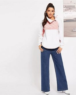White Two Tone Autumn Minimalist Women