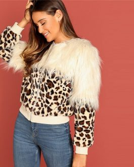 Winter Bomber Casual Women Faux Fur Coat Outerwear