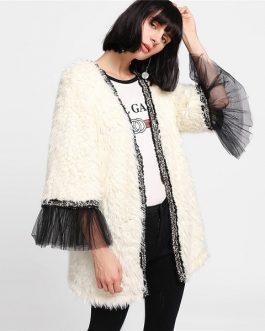 Women Faux Fur  Color Block Party Coats