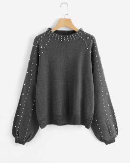 Pearl Beading Lantern Women Acrylic Sweater