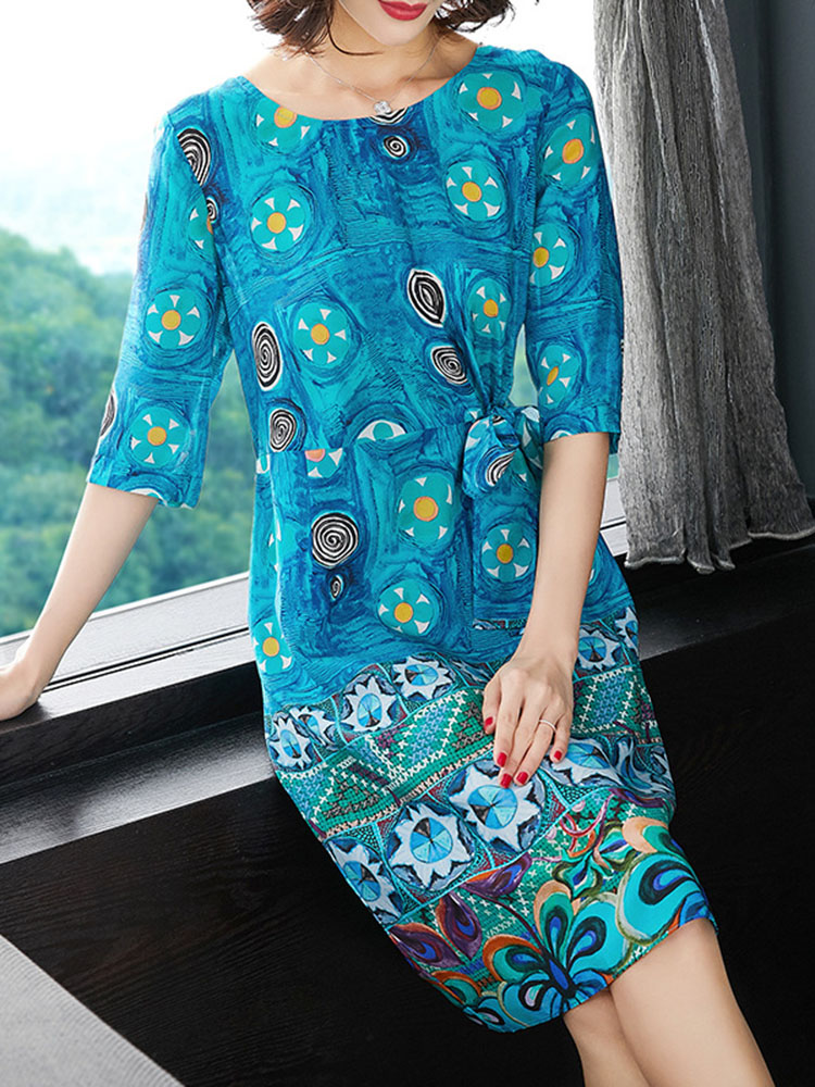 Aline Dress O Neck Half Sleeve Dress3
