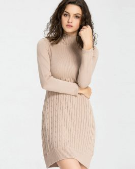 Apricot Sweater Dress Long Sleeve Knee Length High Collar Cable Knit Dress For Women